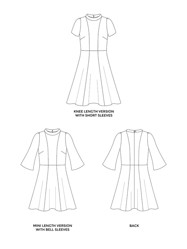 Martha-sewing-pattern-technical-drawing - The Sewcial Studio