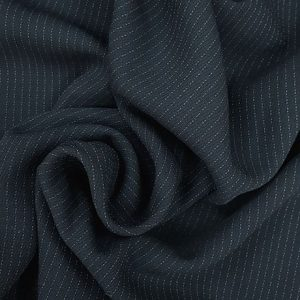 Navy Pin Stripe Lightweight Polyester Suiting Fabric 150cm Wide