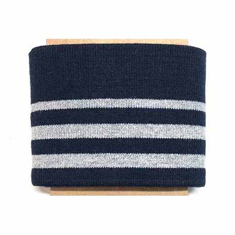 navy 3 stripe silver lurex ribbed cuffing