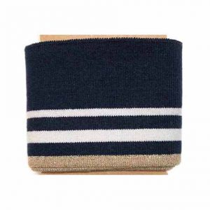 three stripe navy lurex ribbed cuff